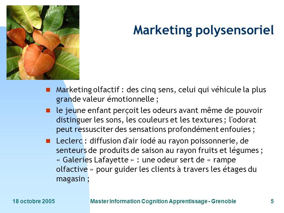 18 octobre 2005Master Information Cognition Apprentissage - Grenoble5 Marketing polysensoriel n Marketing olfactif : des cinq sens, celui qui véhicule