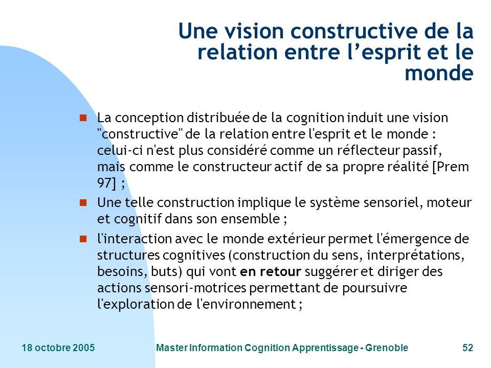 18 octobre 2005Master Information Cognition Apprentissage - Grenoble52 Une vision constructive de la relation entre lesprit et le monde n La conceptio