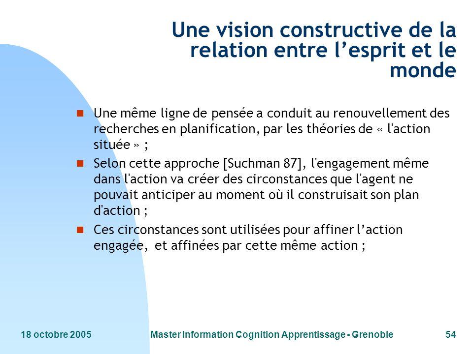 18 octobre 2005Master Information Cognition Apprentissage - Grenoble54 Une vision constructive de la relation entre lesprit et le monde n Une même lig