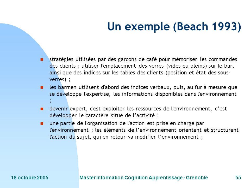 18 octobre 2005Master Information Cognition Apprentissage - Grenoble55 Un exemple (Beach 1993) n stratégies utilisées par des garçons de café pour mém