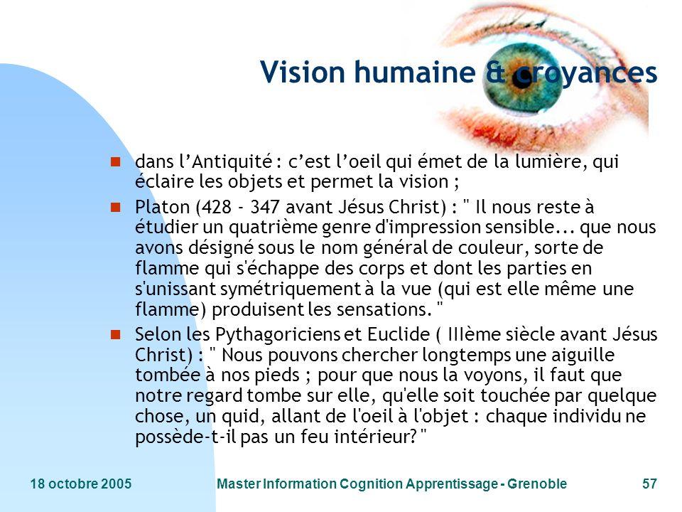 18 octobre 2005Master Information Cognition Apprentissage - Grenoble57 Vision humaine & croyances n dans lAntiquité : cest loeil qui émet de la lumièr