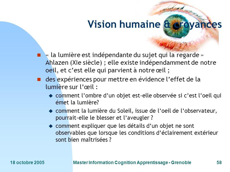 18 octobre 2005Master Information Cognition Apprentissage - Grenoble58 Vision humaine & croyances n « la lumière est indépendante du sujet qui la rega