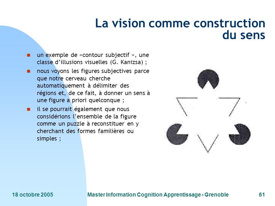 18 octobre 2005Master Information Cognition Apprentissage - Grenoble61 La vision comme construction du sens n un exemple de «contour subjectif », une