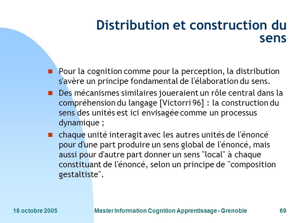 18 octobre 2005Master Information Cognition Apprentissage - Grenoble69 Distribution et construction du sens n Pour la cognition comme pour la percepti