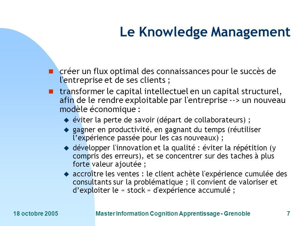 18 octobre 2005Master Information Cognition Apprentissage - Grenoble7 Le Knowledge Management n créer un flux optimal des connaissances pour le succès
