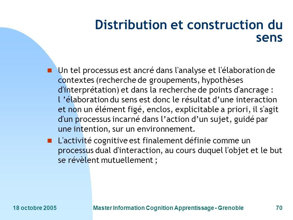 18 octobre 2005Master Information Cognition Apprentissage - Grenoble70 Distribution et construction du sens n Un tel processus est ancré dans l'analys
