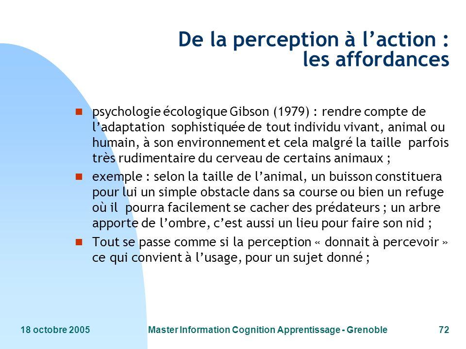 18 octobre 2005Master Information Cognition Apprentissage - Grenoble72 De la perception à laction : les affordances n psychologie écologique Gibson (1