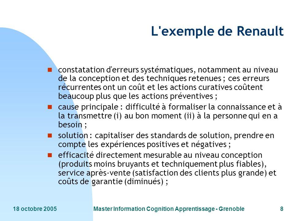 18 octobre 2005Master Information Cognition Apprentissage - Grenoble8 L'exemple de Renault n constatation d'erreurs systématiques, notamment au niveau