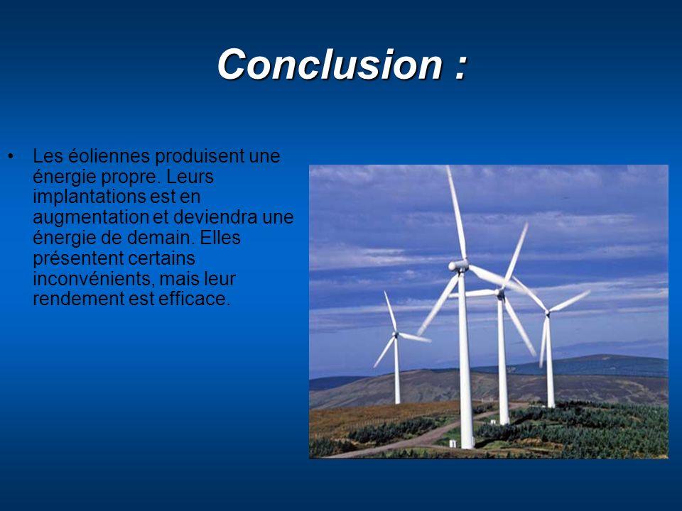 Conclusion : Les éoliennes produisent une énergie propre. Leurs implantations est en augmentation et deviendra une énergie de demain. Elles présentent