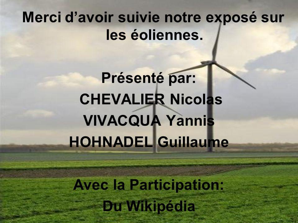 Merci davoir suivie notre exposé sur les éoliennes. Présenté par: CHEVALIER Nicolas VIVACQUA Yannis HOHNADEL Guillaume Avec la Participation: Du Wikip