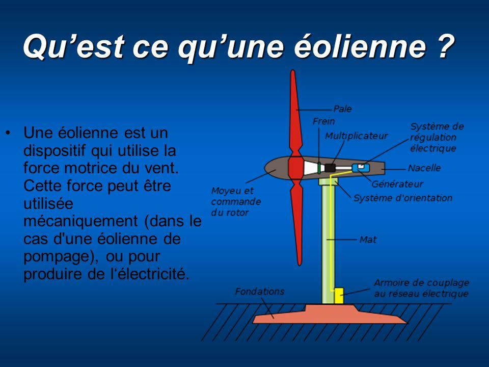 Quest ce quune éolienne ? Une éolienne est un dispositif qui utilise la force motrice du vent. Cette force peut être utilisée mécaniquement (dans le c