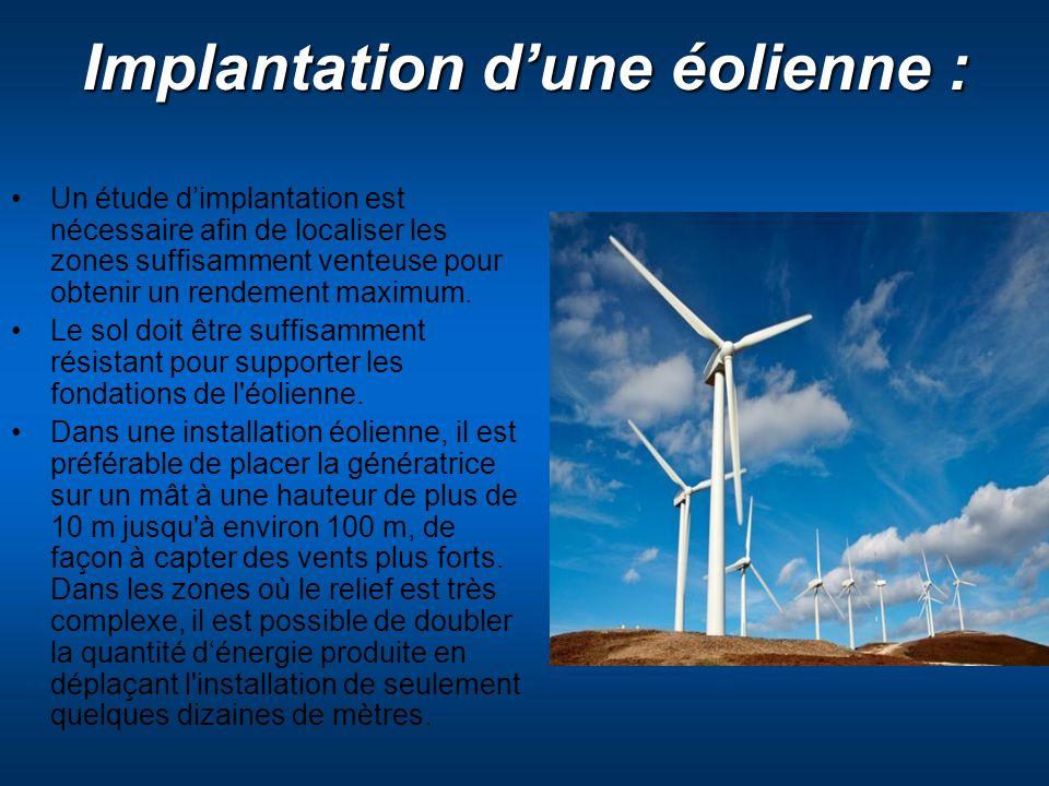 Implantation dune éolienne : Un étude dimplantation est nécessaire afin de localiser les zones suffisamment venteuse pour obtenir un rendement maximum