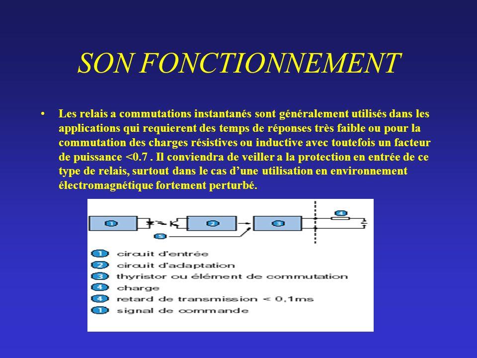SON FONCTIONNEMENT Les relais a commutations instantanés sont généralement utilisés dans les applications qui requierent des temps de réponses très faible ou pour la commutation des charges résistives ou inductive avec toutefois un facteur de puissance <0.7.