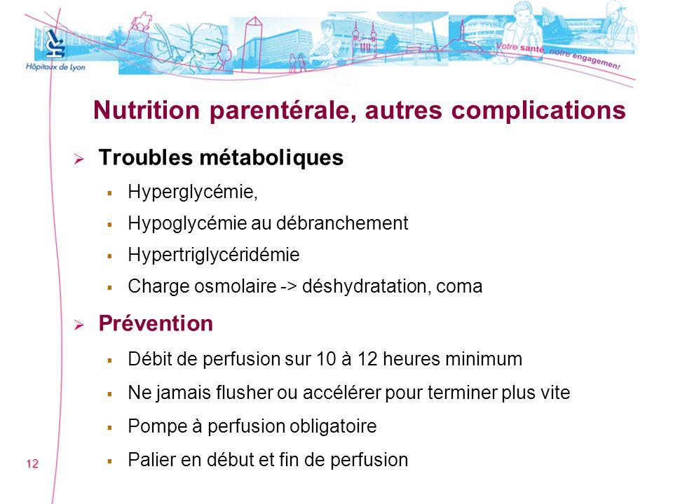 Nutrition parentérale, autres complications Troubles métaboliques Hyperglycémie, Hypoglycémie au débranchement Hypertriglycéridémie Charge osmolaire -