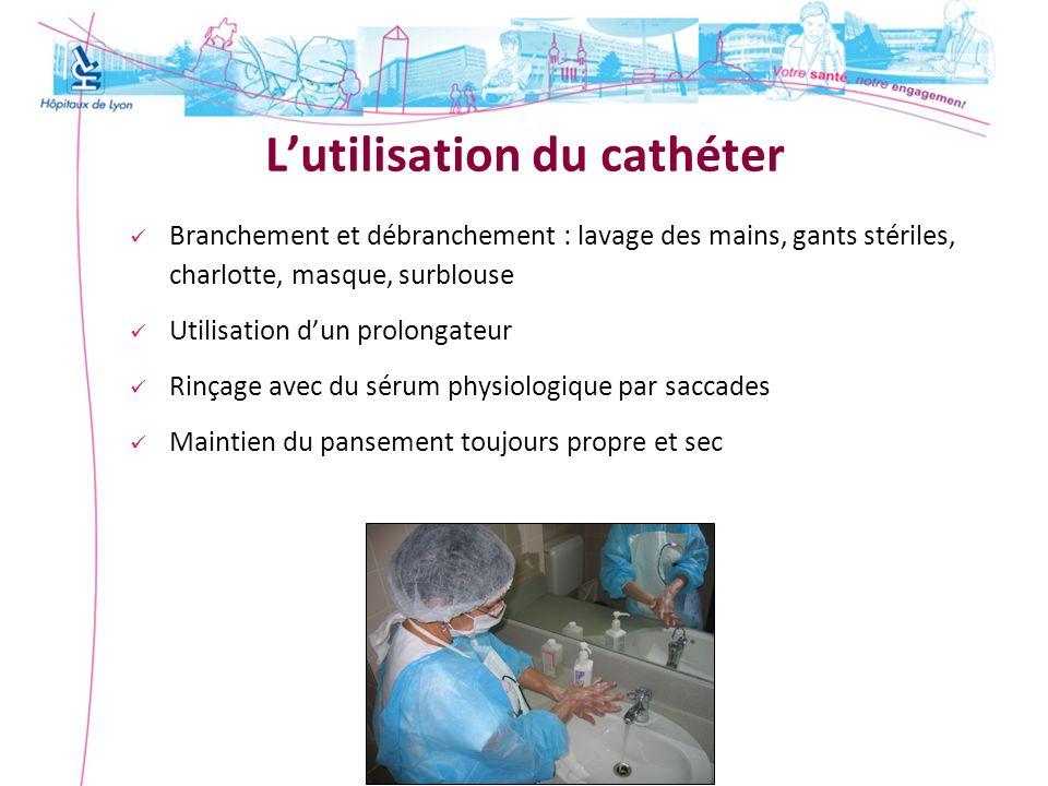 Lutilisation du cathéter Branchement et débranchement : lavage des mains, gants stériles, charlotte, masque, surblouse Utilisation dun prolongateur Ri