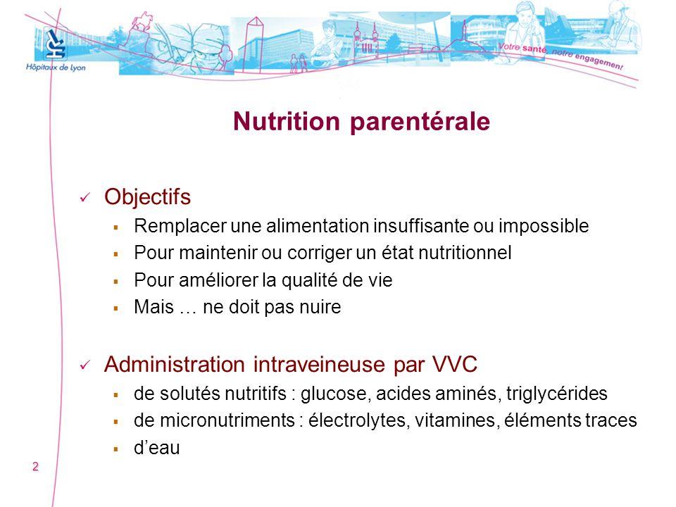 Nutrition parentérale Objectifs Remplacer une alimentation insuffisante ou impossible Pour maintenir ou corriger un état nutritionnel Pour améliorer l