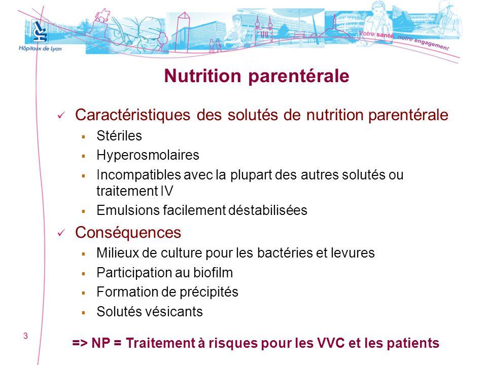 Nutrition parentérale Caractéristiques des solutés de nutrition parentérale Stériles Hyperosmolaires Incompatibles avec la plupart des autres solutés
