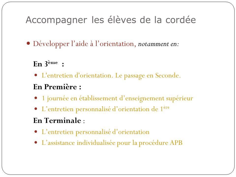Accompagner les élèves de la cordée Développer laide à lorientation, notamment en: En 3 ème : L entretien d orientation.