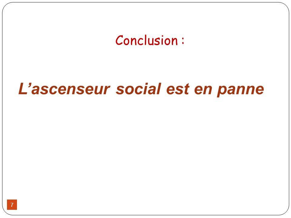 Lascenseur social est en panne Conclusion : 7