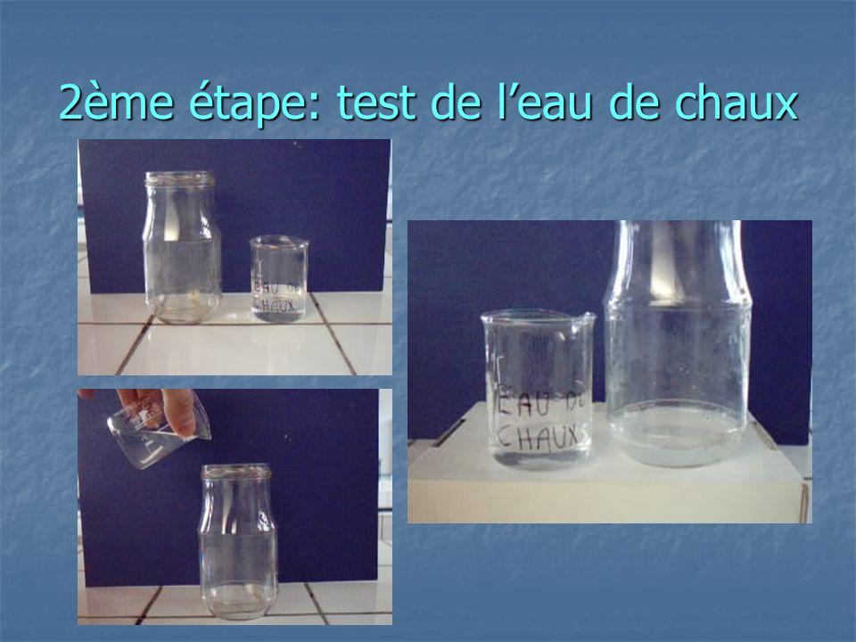 2ème étape: test de leau de chaux