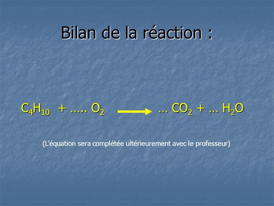 Bilan de la réaction : C 4 H 10 + …..