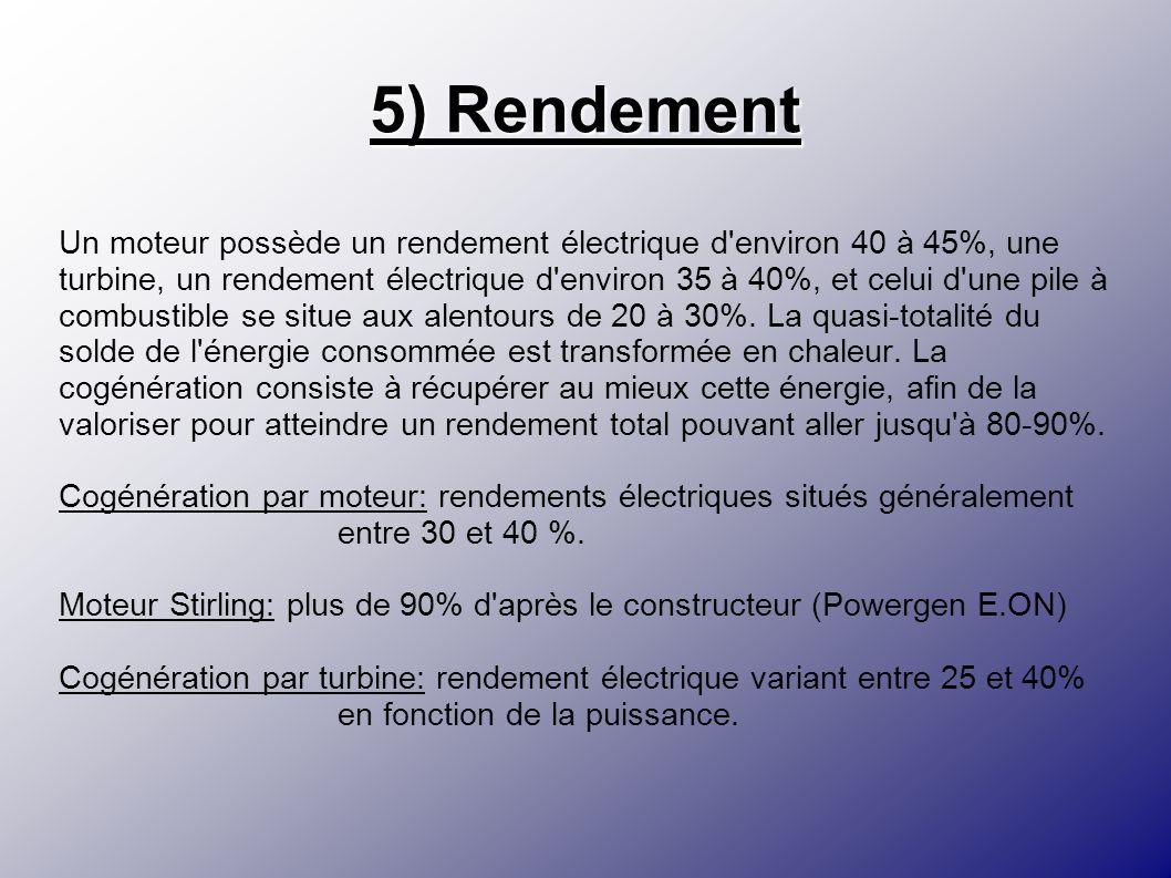 5) Rendement Un moteur possède un rendement électrique d'environ 40 à 45%, une turbine, un rendement électrique d'environ 35 à 40%, et celui d'une pil