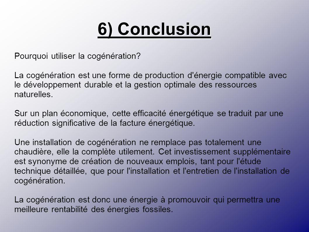 6) Conclusion Pourquoi utiliser la cogénération? La cogénération est une forme de production d'énergie compatible avec le développement durable et la
