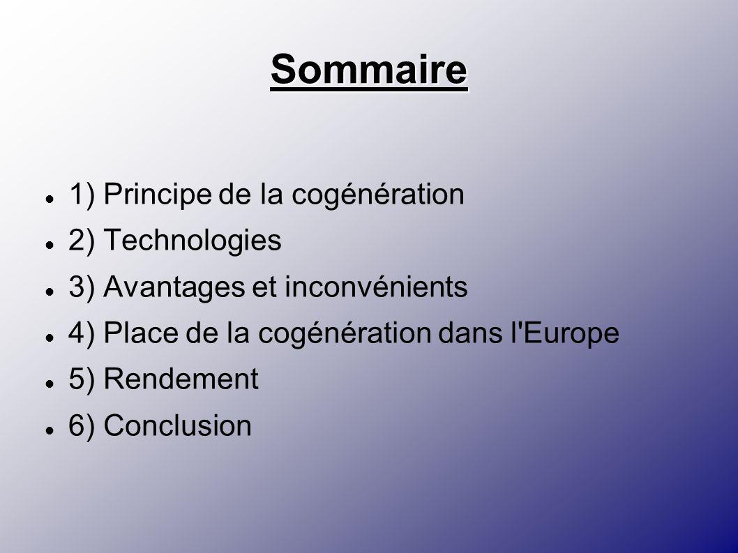 Sommaire 1) Principe de la cogénération 2) Technologies 3) Avantages et inconvénients 4) Place de la cogénération dans l'Europe 5) Rendement 6) Conclu