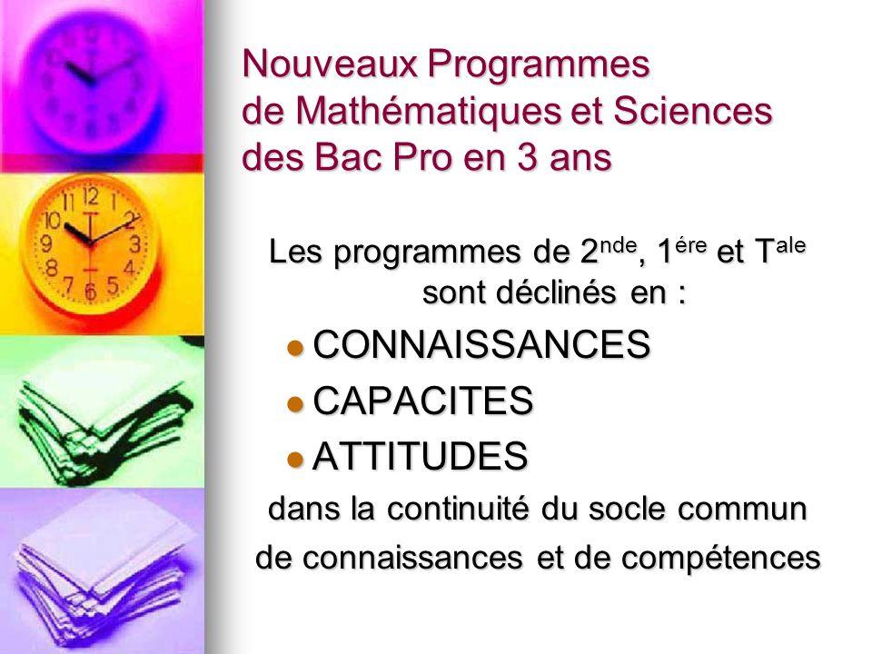 BAC Pro 3 ans Nouveaux Programmes en Maths-Sciences