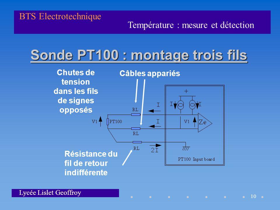 Température : mesure et détection BTS Electrotechnique Lycée Lislet Geoffroy 10 Sonde PT100 : montage trois fils Chutes de tension dans les fils de si