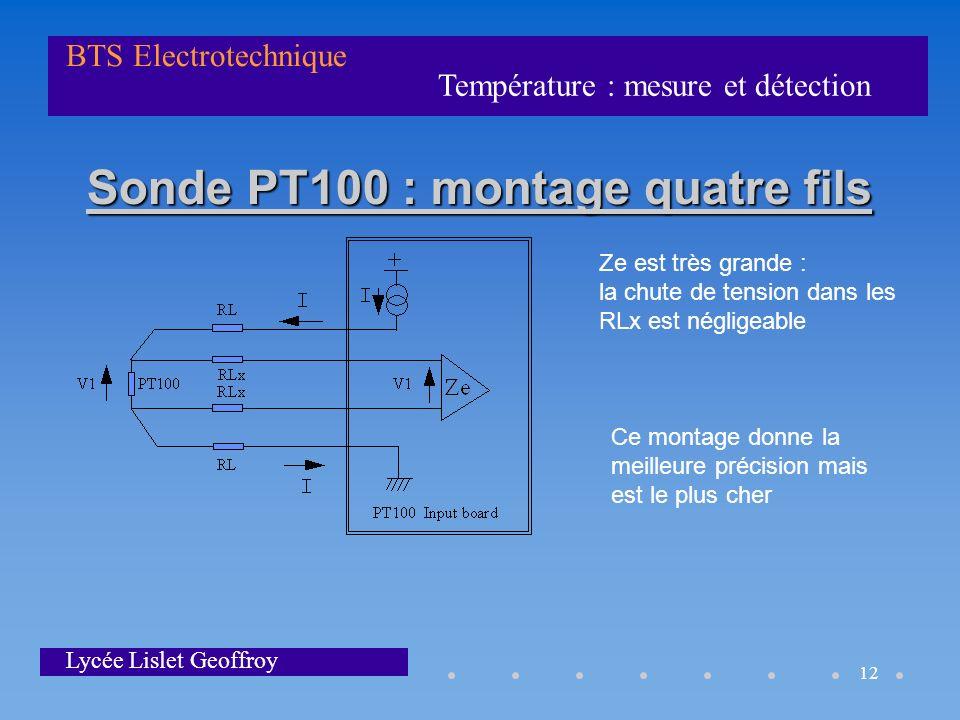 Température : mesure et détection BTS Electrotechnique Lycée Lislet Geoffroy 12 Sonde PT100 : montage quatre fils Ze est très grande : la chute de ten