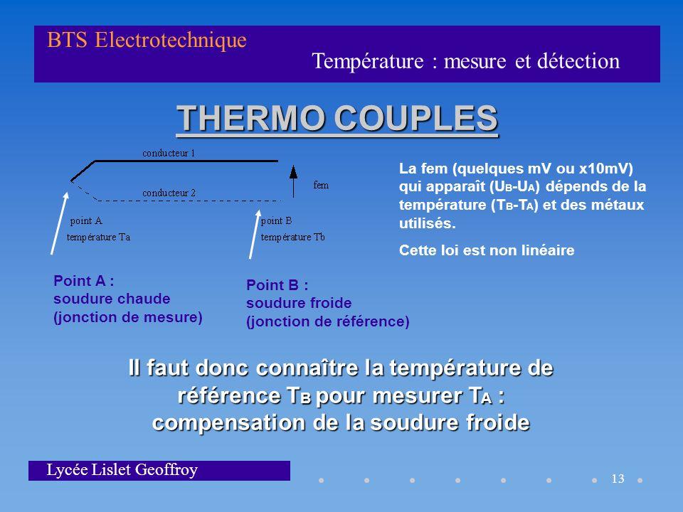 Température : mesure et détection BTS Electrotechnique Lycée Lislet Geoffroy 13 THERMO COUPLES La fem (quelques mV ou x10mV) qui apparaît (U B -U A )