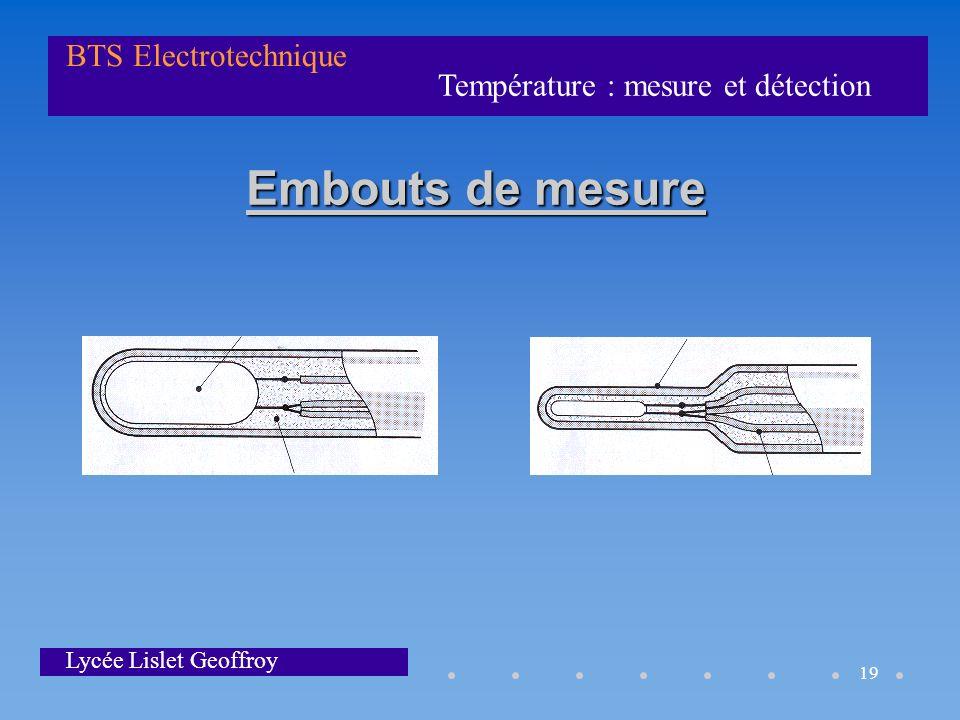 Température : mesure et détection BTS Electrotechnique Lycée Lislet Geoffroy 19 Embouts de mesure