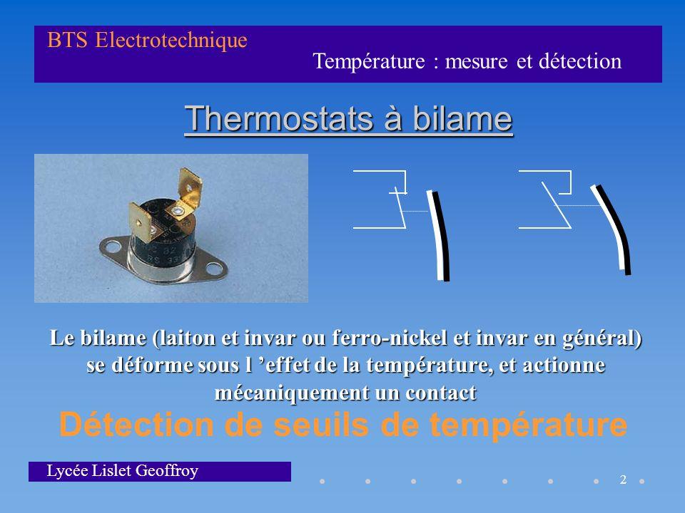 Température : mesure et détection BTS Electrotechnique Lycée Lislet Geoffroy 2 Thermostats à bilame Le bilame (laiton et invar ou ferro-nickel et inva