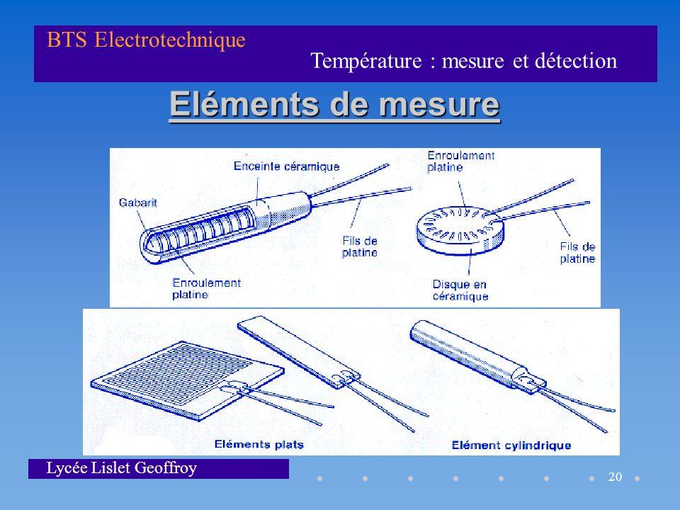 Température : mesure et détection BTS Electrotechnique Lycée Lislet Geoffroy 20 Eléments de mesure
