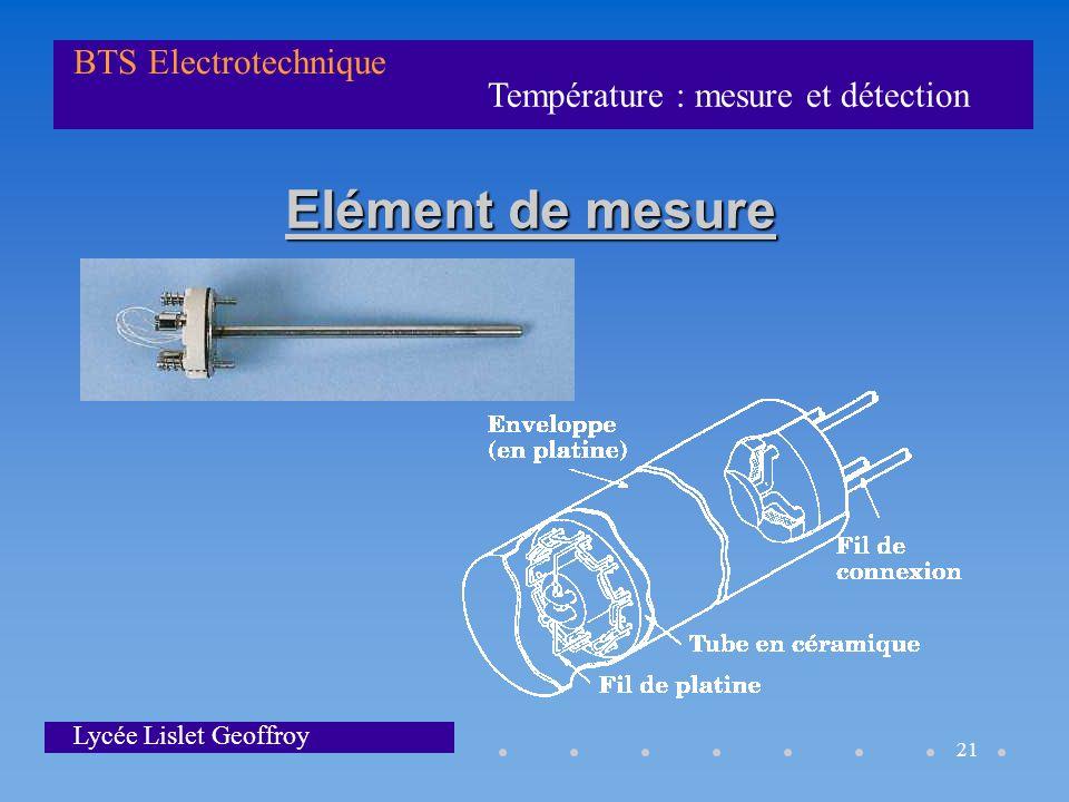 Température : mesure et détection BTS Electrotechnique Lycée Lislet Geoffroy 21 Elément de mesure