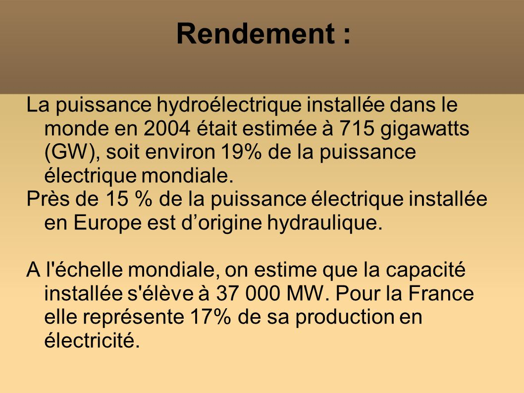 Rendement : La puissance hydroélectrique installée dans le monde en 2004 était estimée à 715 gigawatts (GW), soit environ 19% de la puissance électriq