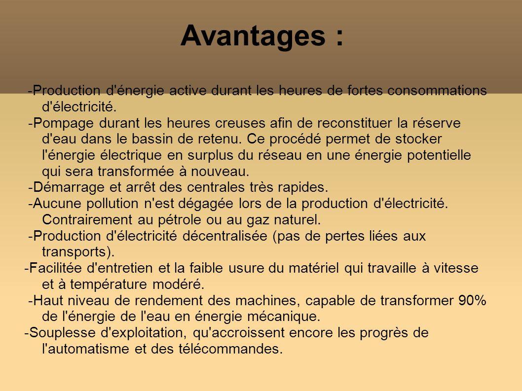Avantages : -Production d'énergie active durant les heures de fortes consommations d'électricité. -Pompage durant les heures creuses afin de reconstit