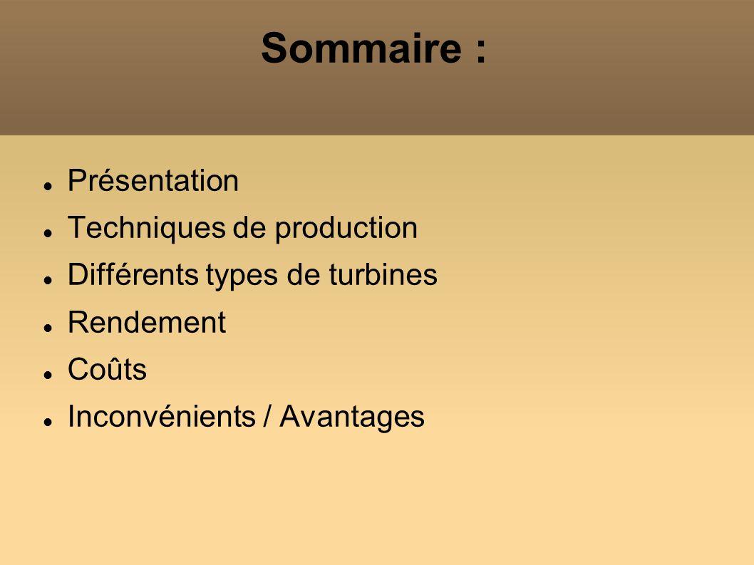 Sommaire : Présentation Techniques de production Différents types de turbines Rendement Coûts Inconvénients / Avantages