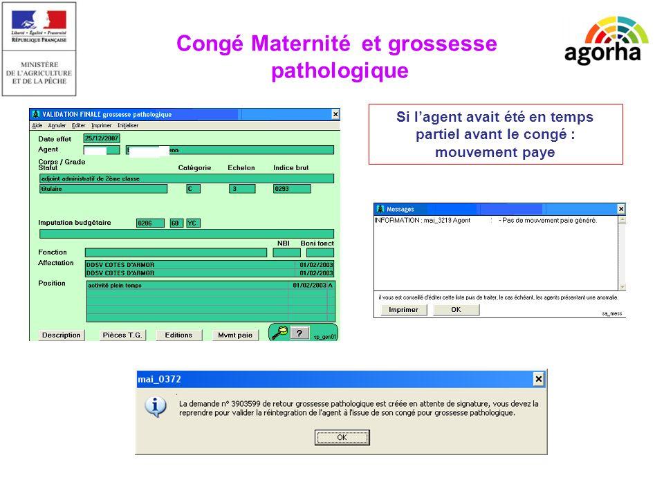 EPICEA Si lagent avait été en temps partiel avant le congé : mouvement paye Congé Maternité et grossesse pathologique