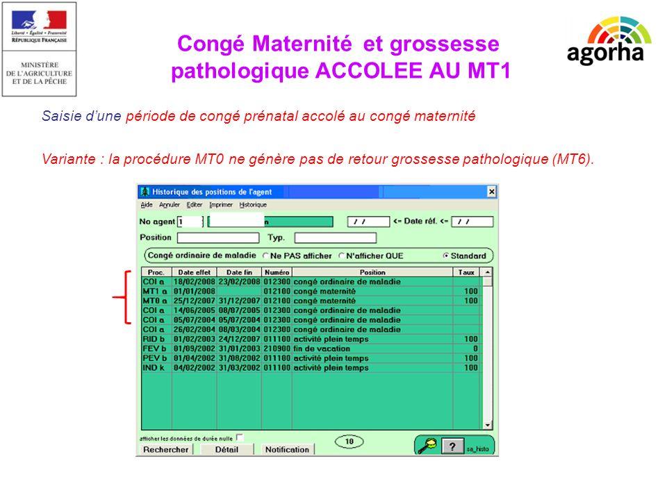 Saisie dune période de congé prénatal accolé au congé maternité Variante : la procédure MT0 ne génère pas de retour grossesse pathologique (MT6).