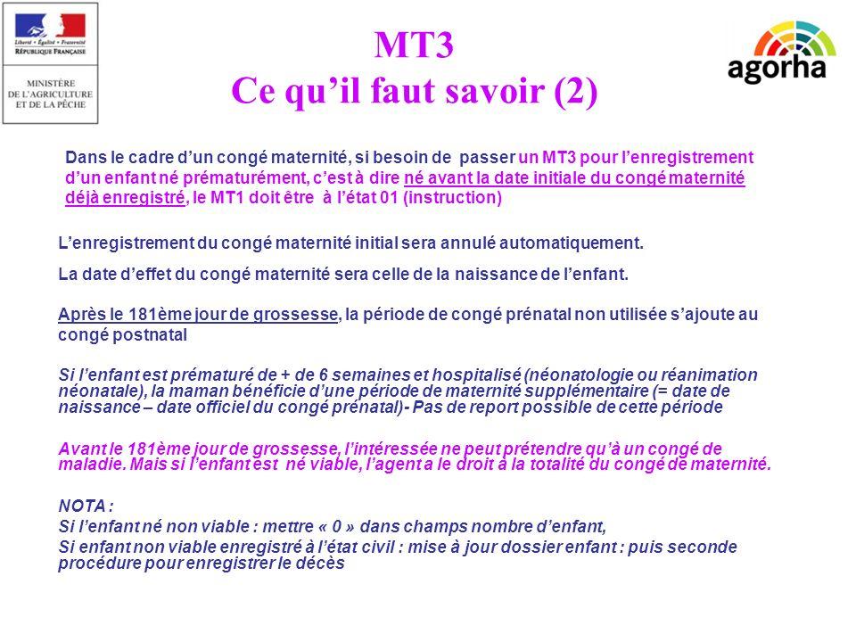 MT3 Ce quil faut savoir (2) Lenregistrement du congé maternité initial sera annulé automatiquement. La date deffet du congé maternité sera celle de la