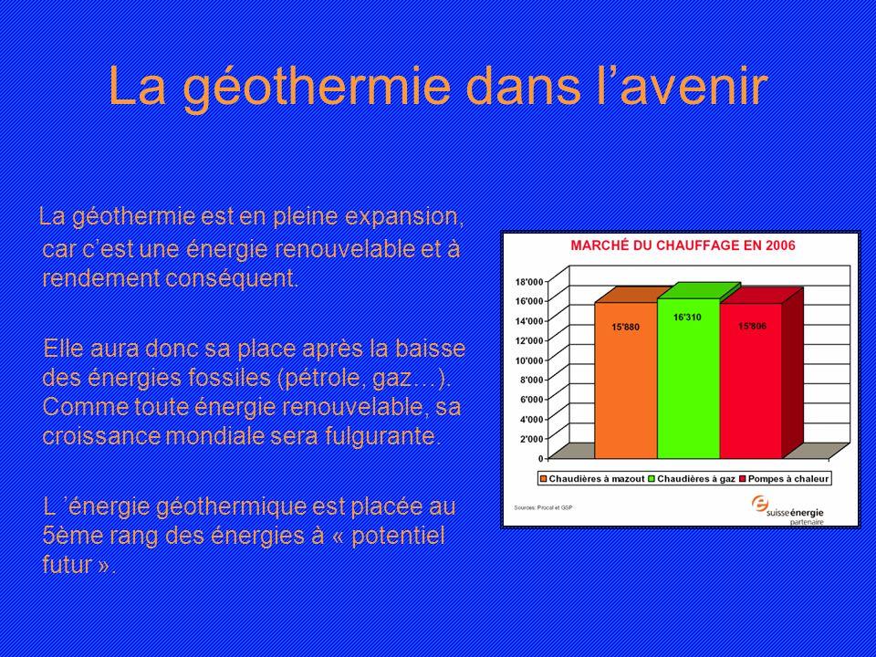 La géothermie dans lavenir La géothermie est en pleine expansion, car cest une énergie renouvelable et à rendement conséquent. Elle aura donc sa place