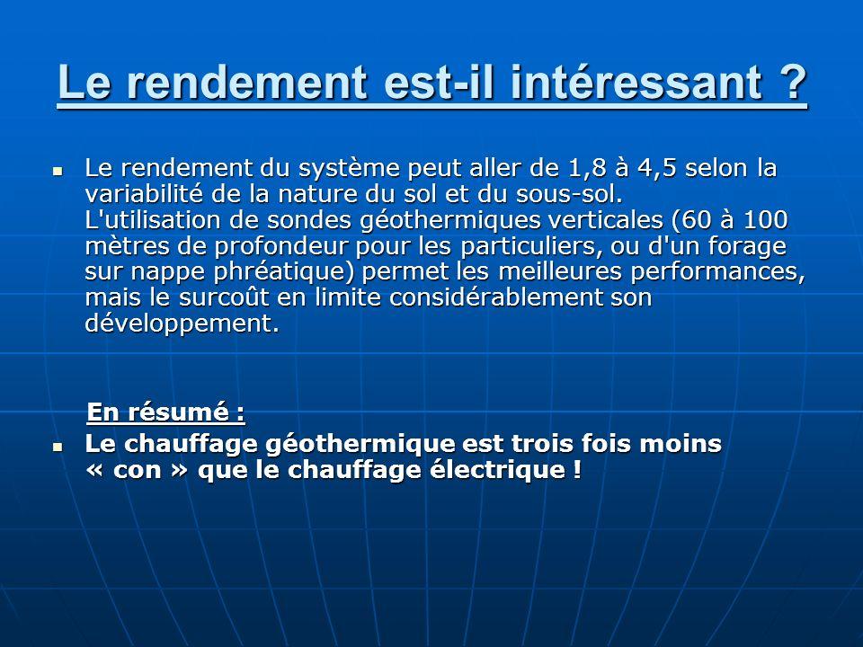 Le rendement est-il intéressant ? Le rendement du système peut aller de 1,8 à 4,5 selon la variabilité de la nature du sol et du sous-sol. L'utilisati