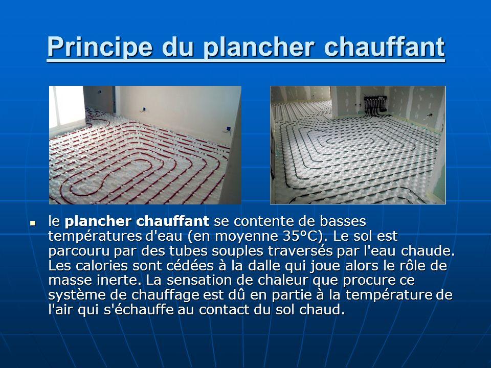 Principe du plancher chauffant le plancher chauffant se contente de basses températures d'eau (en moyenne 35°C). Le sol est parcouru par des tubes sou