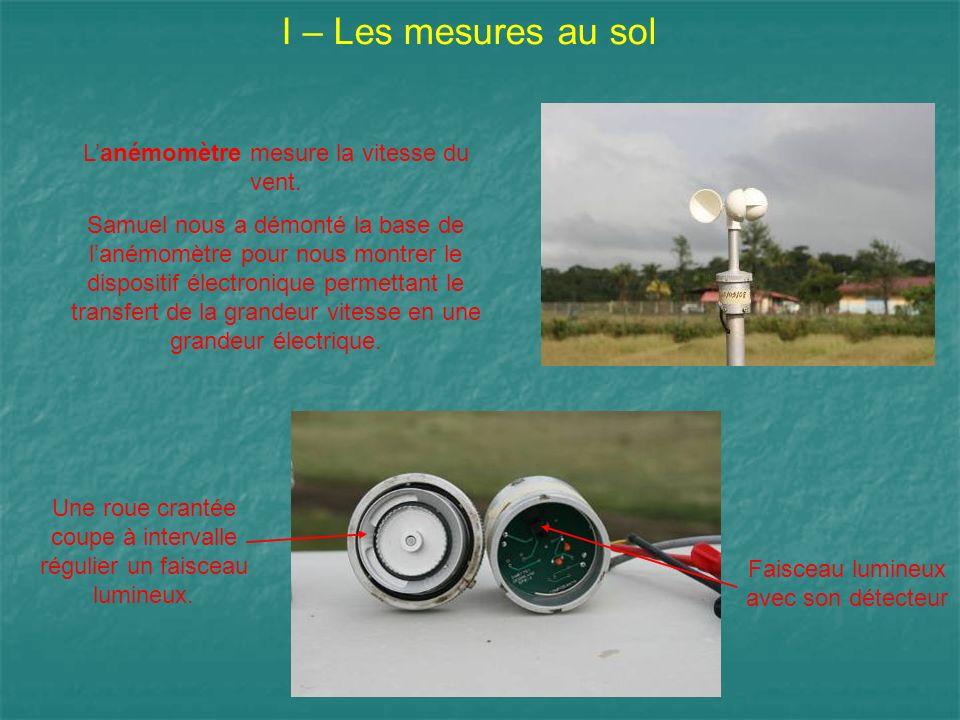 I – Les mesures au sol Lanémomètre mesure la vitesse du vent. Samuel nous a démonté la base de lanémomètre pour nous montrer le dispositif électroniqu