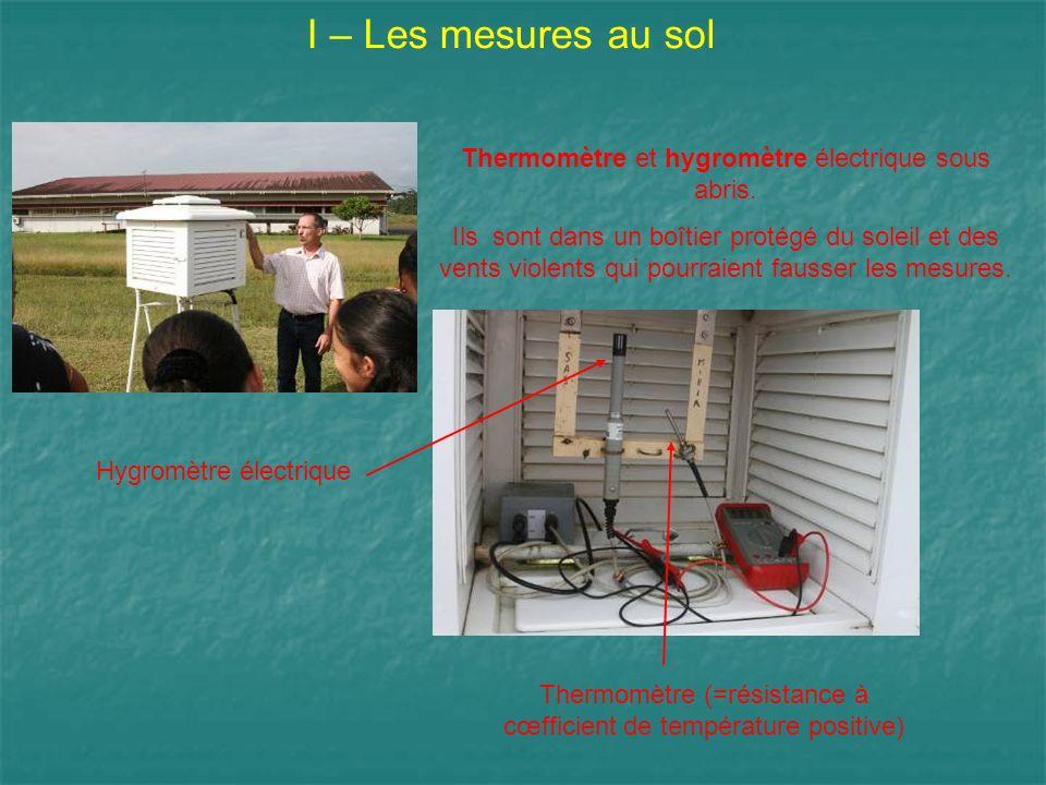 I – Les mesures au sol Thermomètre et hygromètre électrique sous abris. Ils sont dans un boîtier protégé du soleil et des vents violents qui pourraien