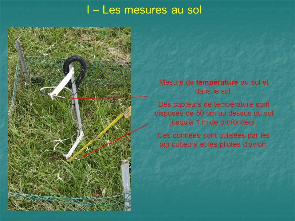 I – Les mesures au sol Mesure de température au sol et dans le sol. Des capteurs de température sont disposés de 50 cm au dessus du sol jusquà 1 m de