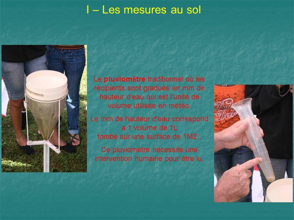 I – Les mesures au sol Le pluviomètre traditionnel où les récipients sont gradués en mm de hauteur deau qui est lunité de volume utilisée en météo. Le