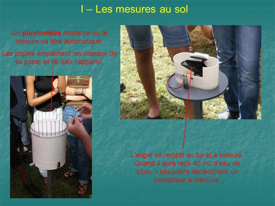 I – Les mesures au sol Lauget se remplit au fur et à mesure. Quand il aura reçu 40 mL deau de pluie, il basculera déclenchant un contacteur à mercure.